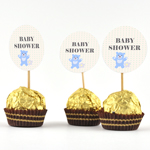Etiketter, runda 4cm, 24st Baby Shower, Little Family