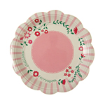 Assiette, Pink flowers, 12-pack