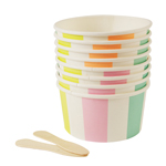 Striped ice cream cups / treat cups med skedar, 8-pack