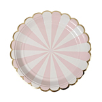 Assiette, Dusty pink striped, 8-pack
