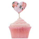 Cup Cake toppers - Blommiga hjärtan