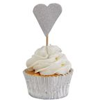 Cupcake Toppers - Hjärtan - Silver - 10-pack