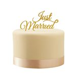 Tårtdekoration - Just Married - Gold