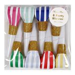 Party Horns - Tutor - Ränder & Glitter - 6-pack