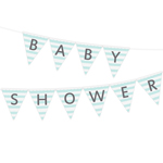 Vimpel med texten Baby Shower, Stripes Blå