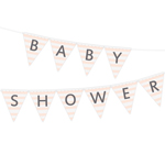 Vimpel med texten Baby Shower, Stripes Rosa