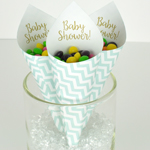Godisstrut, Baby Shower, Chevron Divine Mint
