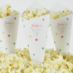 Personaliserad popcornstrut, Baby Shower, Dots Multi