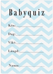 Baby Quiz, 10-pack, Baby Shower, Chevron Divine Blå