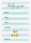 Baby Quiz, 10-pack, Baby Shower, Stripes Blå