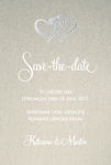 Save-the-date kort, Two hearts guld