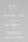 Save-the-date kort, Two hearts silver