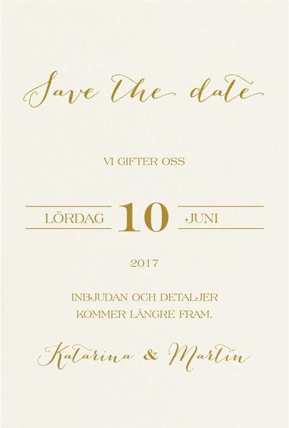 Save the date Bröllop Satve the Date-kort Spara datumet