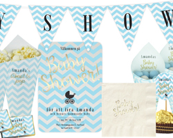 Baby shower Chevron divine blue