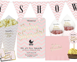 Baby shower Chevron divine rosa