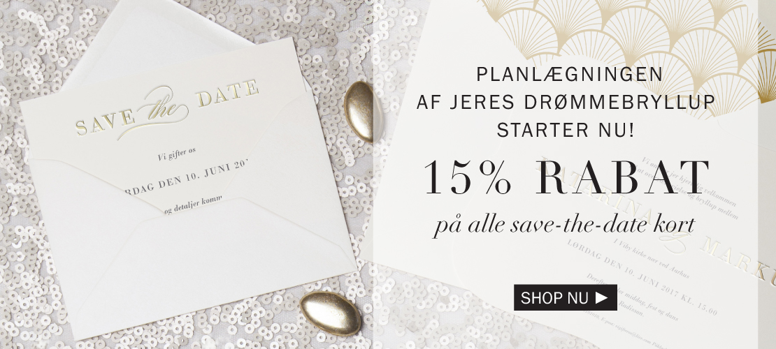 15% rabat på save-the-date